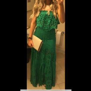 Green eyelet lace crop top with maxi skirt